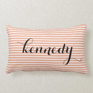Peach White Stripes Custom Monogram Lumbar Pillow