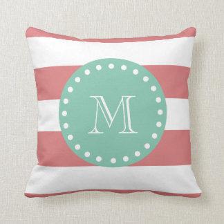 Peach White Stripes Pattern, Mint Green Monogram Throw Pillow