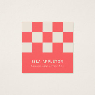Peaches and Cream Chequered   Business Card