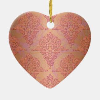 Peachy Orange and Pink Victorian Damask Ceramic Heart Decoration