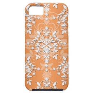 Peachy Tangerine and White Floral Damask iPhone 5 Cases