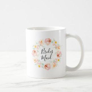 Peachy Watercolor Floral Bridesmaid Coffee Mug