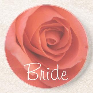 Peachy Wedding Rose Coaster