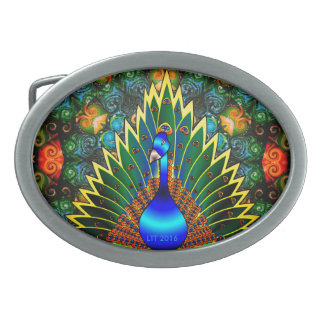 Peacock and Beads Belt Buckle