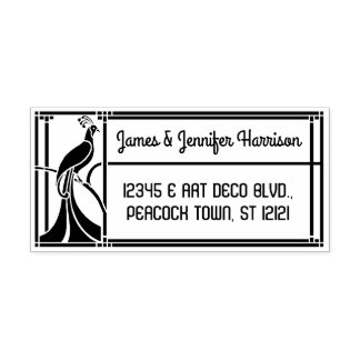 Peacock Art Deco Border | Name and Return Address Rubber Stamp