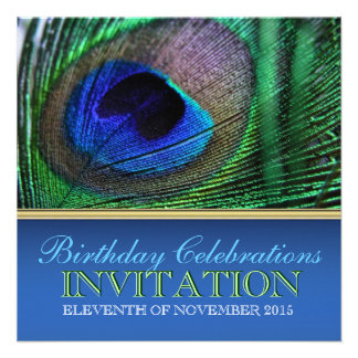 Peacock Blue+Green Feather Birthday Invitations