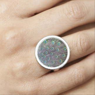 Peacock Blue Silver Ring