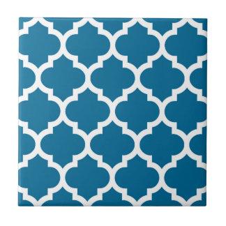 Peacock Blue White Moroccan Quatrefoil Pattern #5 Small Square Tile