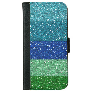 Peacock Blues Greens Glitter Effect Stripes iPhone 6 Wallet Case