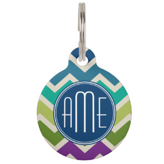 Peacock Colours Chevron Pattern Custom Monograms Pet ID Tags