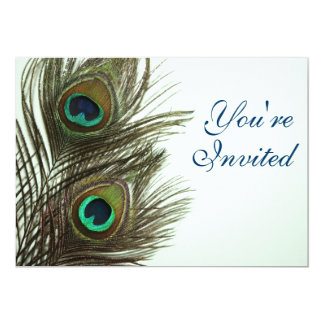 Peacock Feather Invitaiton Personalized Invite