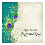 Peacock Feather Teal Blue Damask Quinceanera Party 13 Cm X 13 Cm Square Invitation Card