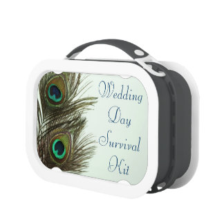 Peacock Feather Wedding Day Survival Kit Box Lunchboxes