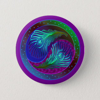 Peacock Feather Yin Yang 5 6 Cm Round Badge