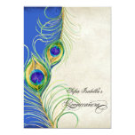 Peacock Feathers Blue Damask Quinceanera Party 13 Cm X 18 Cm Invitation Card