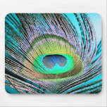 Peacock Feathers on turquoise Mousemats