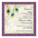 Peacock Feathers Purple Damask Quinceanera Party 13 Cm X 13 Cm Square Invitation Card