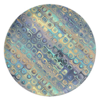 Peacock Feathers Retro Abstract Party Plates