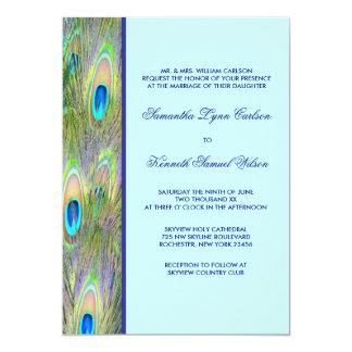 "Peacock Feathers Wedding Invitations 5"" X 7"" Invitation Card"