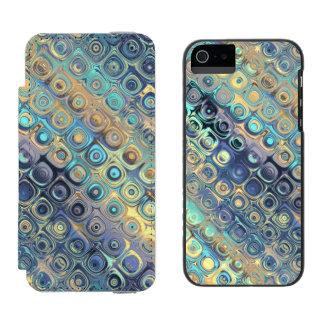 Peacock Glass Mosaic Tile Purple Blocks Lavander Incipio Watson™ iPhone 5 Wallet Case