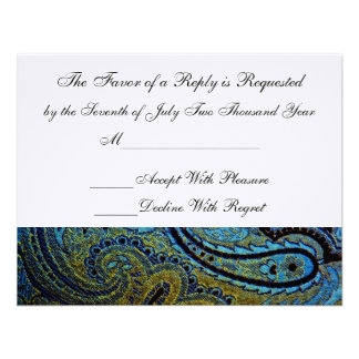 Peacock Paisley Indian Wedding Invitation RSVP