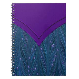 Peacock Pearls Purple Teal Blue Spiral Notebook