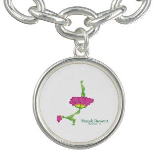 (Peacock Posture II) Round Charm Bracelet