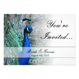 Peacock Wedding Theme 1 Blue Custom Announcement