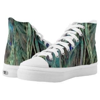 Peafowl Eye Feathers Blue And Green High Tops
