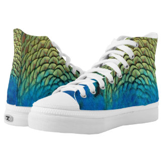 Peafowl Feathers Deep Blue And Gold Colors Printed Shoes