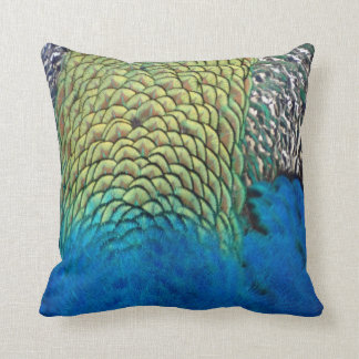Peafowl Feathers Deep Blue And Gold Colors Throw Pillow