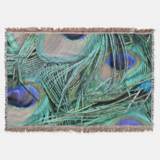 Peafowl Feathers Green And Blue Eyes Throw Blanket