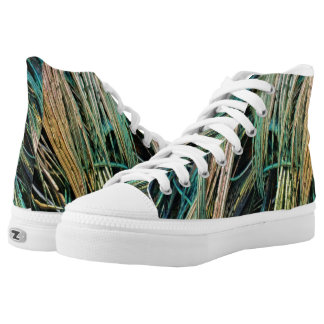 Peafowl Feathers No Eyes Colorful High Tops