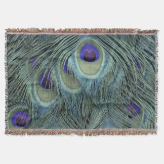 Peafowl Feathers With Big Eyes Throw Blanket