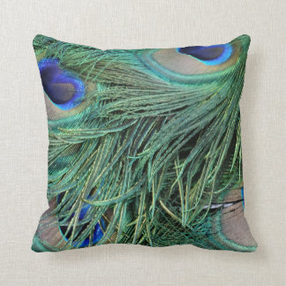 peafowl greenish Tail Feathers Cushion