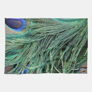 peafowl greenish Tail Feathers Tea Towel