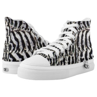 Peahen Feathers Print High Top Shoes