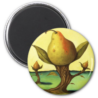 Pear Tree 6 Cm Round Magnet