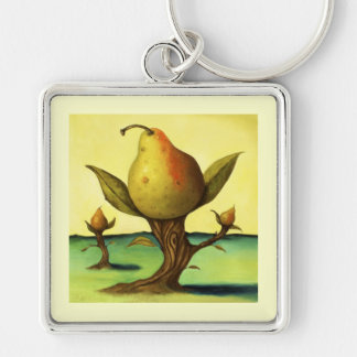 Pear Tree Silver-Colored Square Key Ring
