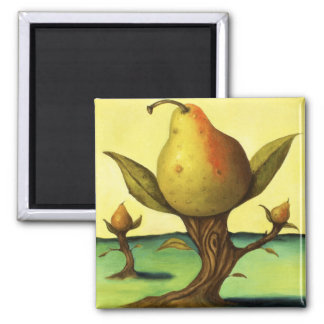Pear Tree Square Magnet