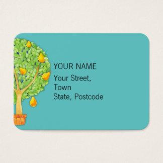 Pear Tree teal Chubby Business Card