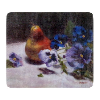 Pear with Pansies Glass Cutting Board