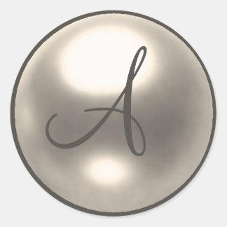 Pearl A monogram wedding seal Sticker