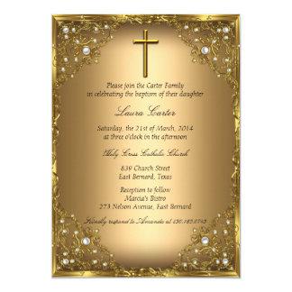 Pearl Damask & Cross Gold Baptism/Christening Card