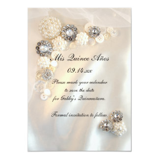 Pearl Diamond Buttons Quinceañera Save the Date Personalized Invitations