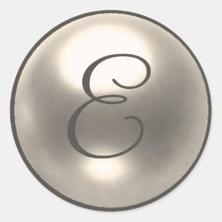 Pearl E monogram wedding seal Round Sticker