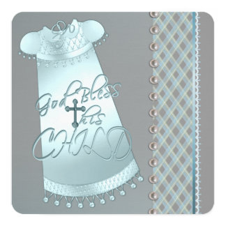 Pearl Gray Teal Blue Christening 13 Cm X 13 Cm Square Invitation Card