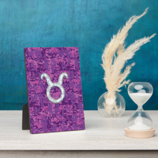 Pearl Like Taurus Zodiac Sign on Pink Digital Camo Plaque