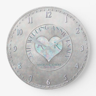 Pearl Silver Heart Monogram Wedding Anniversary Large Clock