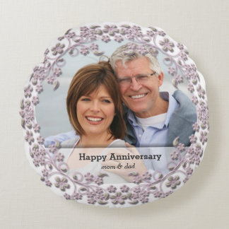 Pearl Wedding Anniversary with a photo Round Cushion